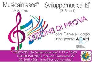 Lezione di prova MUSICAINFASCE® e SVILUPPOMUSICALITA'®con Daniele Longo @ Tondomondo
